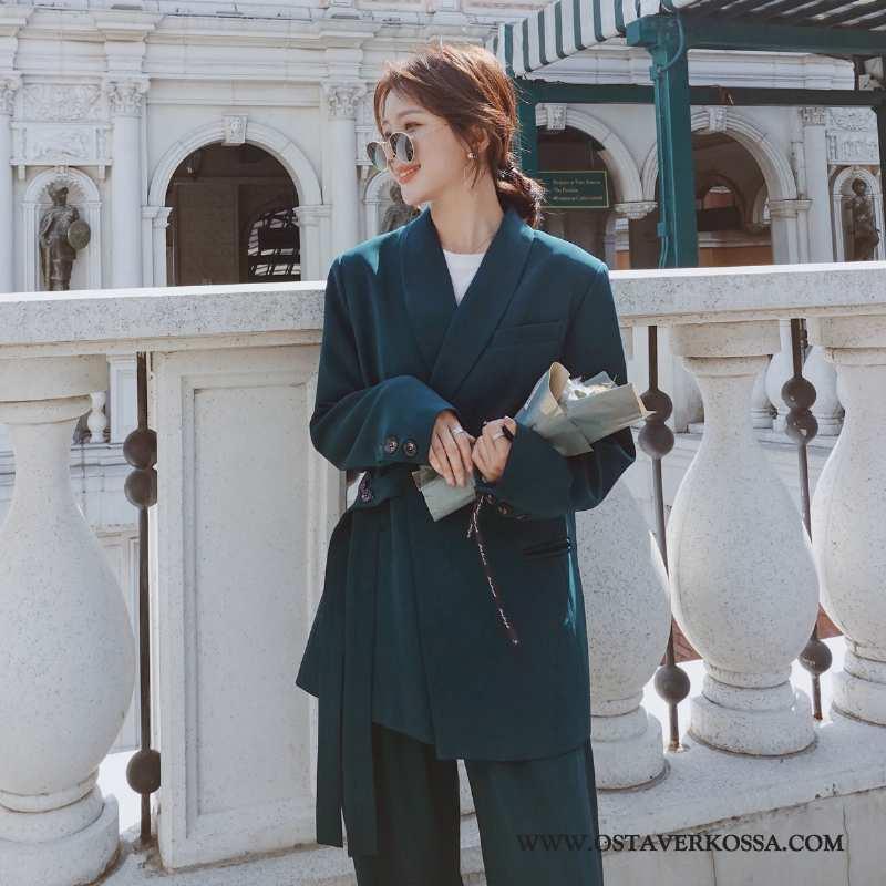 Bleiseri Naisten Kevyt Tummansininen Vaatteet Puku Tummansiniset