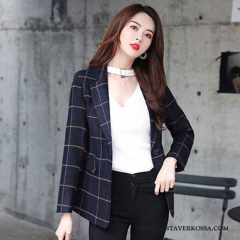 Bleiseri Naisten Vintage Lyhyt Casual Tummansininen Takki Turkki Kevät Ruudullinen Kaikki Ottelut Tu