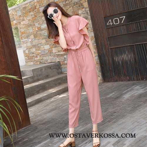 Housut Naisten Kesä Chiffon Vaatteet Tyylikäs Uusi Siamilaiset Housut Naiset Pinkki