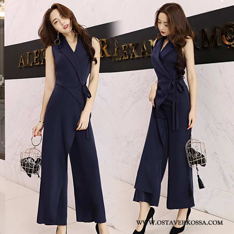 Housut Naisten Kesä Muoti Kukka Tummansininen Suuntaus Vaatteet Kaikki Ottelut Slim Fit Tummansinise