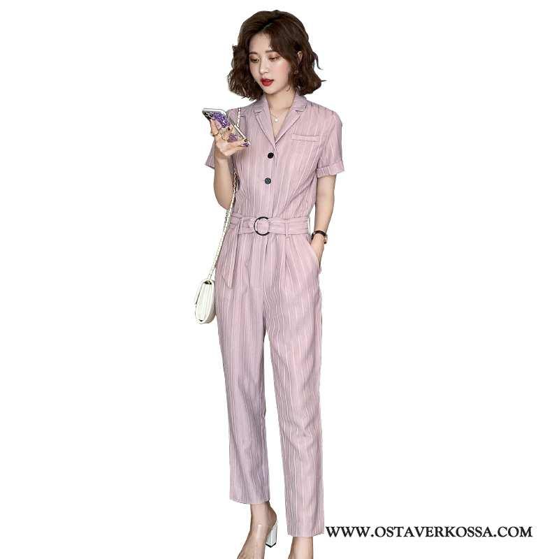Housut Naisten Ohut Uusi Casual Korkeavyötäröiset Skinny Cargo Vaatteet Pinkki