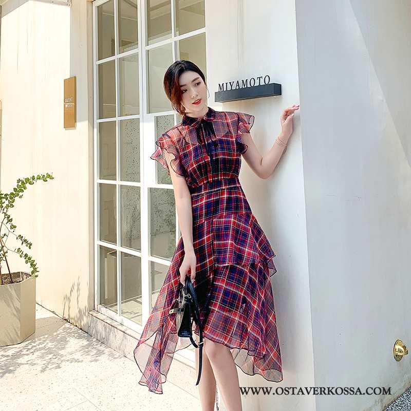 Mekko Naisten Vintage Chiffon Tyylikäs Vyötärön Kesä Leninki Epäsäännöllinen Violetti Ruudullinen