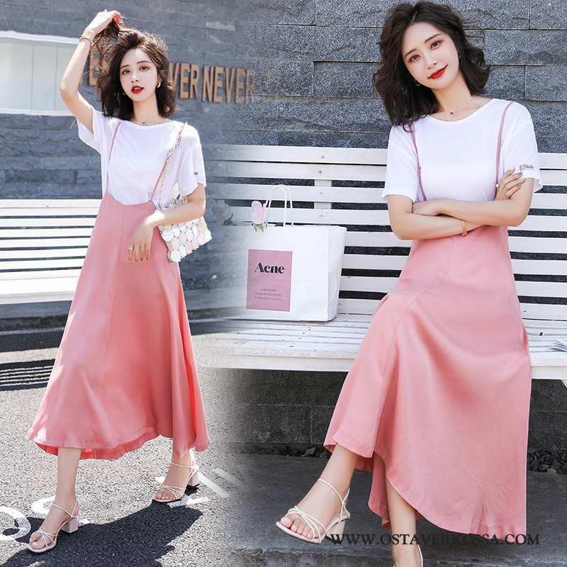 Mekko Naisten Muoti Vaatteet Pinkki Henkselit Iso Hame Hame Twinset