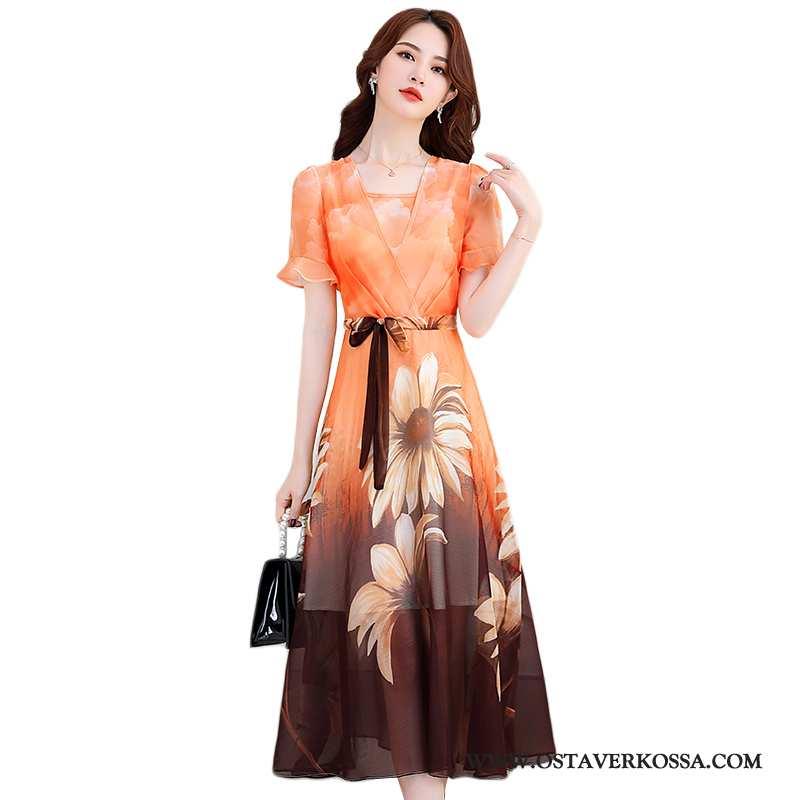 Mekko Naisten Väljät Yksinkertainen Luonnollinen Oranssi Pehmeät Leninki Kesä