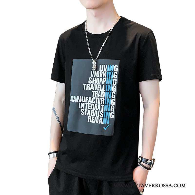 T-paidat Miesten Lyhyt Painatus Musta Holkki Miehet T-paita Tide-brändi Takki Kesä Mustat