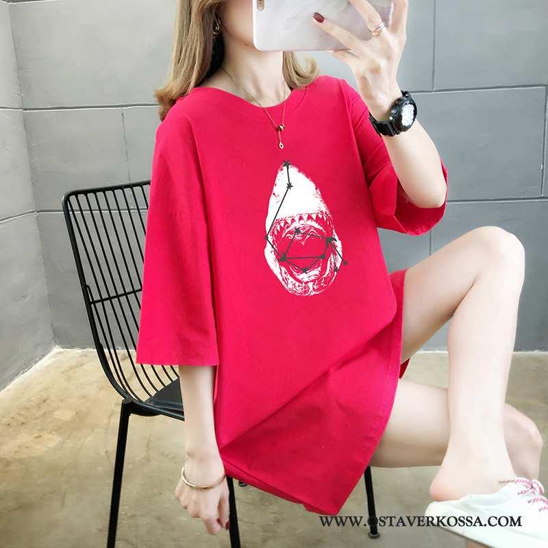 T-paidat Naisten Kesä Puuvilla Punainen Keskimääräinen Numero Pyöreä Kaula T-paita Lyhyt Pitkä Puhda