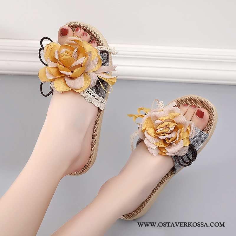 Aamutossut Naisten Kesä Lyhythihaine Makea Keltainen Kiilapohja Kengät Sisällä Päällysvaatteet Tyyli