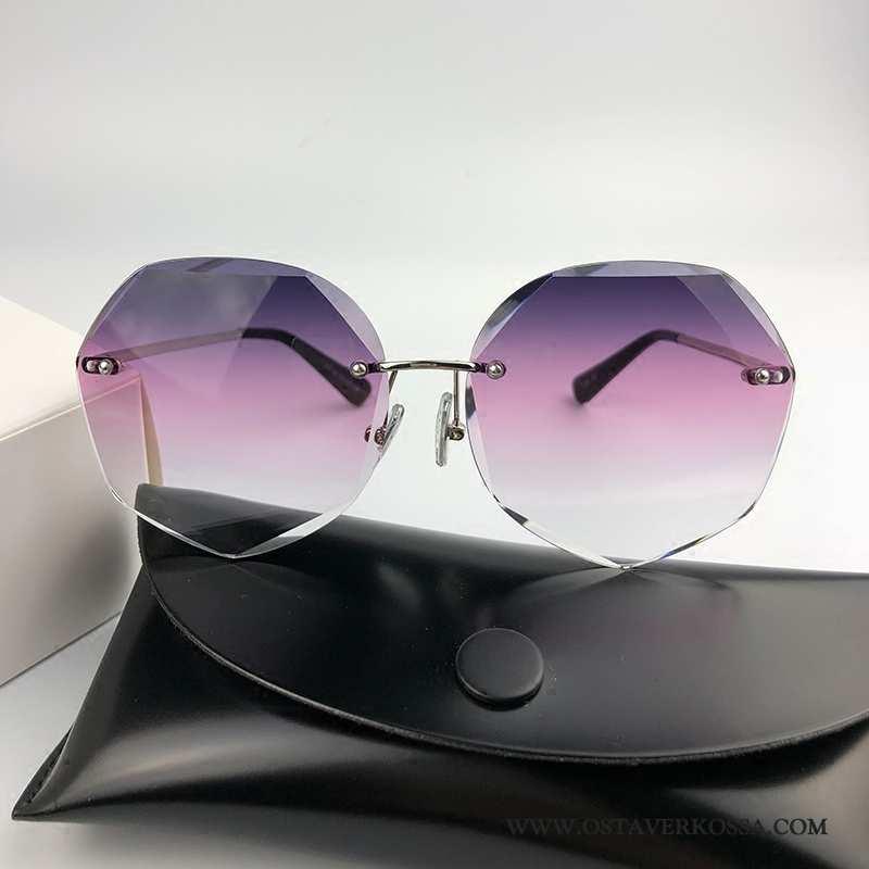 Aurinkolasit Naisten Vintage Naiset Verkko Violetti Pyöreät Kasvot Tide-brändi Uv Silmä