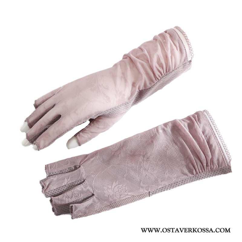 Käsineet Naisten Kesä Ice Silkki Kuljettajille Puoli Sormea Hengittävä Shade Pinkki Aurinkosuoja
