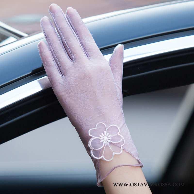 Käsineet Naisten Ohut Pitsi Kosketusnäyttö Lyhyt Hengittävä Aurinkosuoja Pyöräillen Käsine Violetti