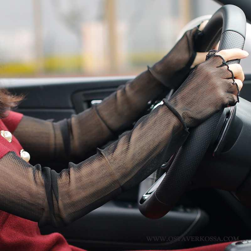 Käsineet Naisten Kesä Silkki Naiset Musta Holkki Käsine Uv Kuljettajille Mustat