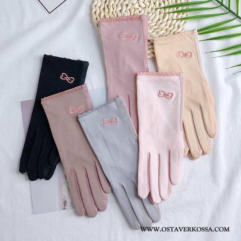Käsineet Naisten Stretch Puuvilla Hengittävä Pinkki Käsine Liukumaton Aurinkosuoja Kesä