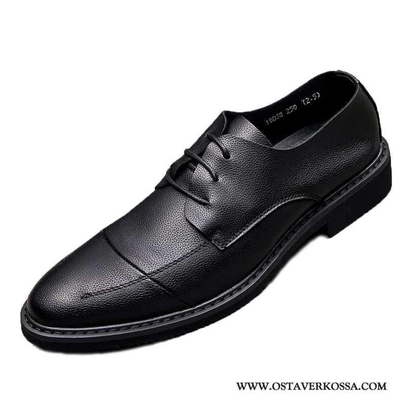 Nahkakengät Miesten Kesä Nahka Nuoret Musta Liiketoiminta Kengät Hissi Suuntaus Casual Mustat