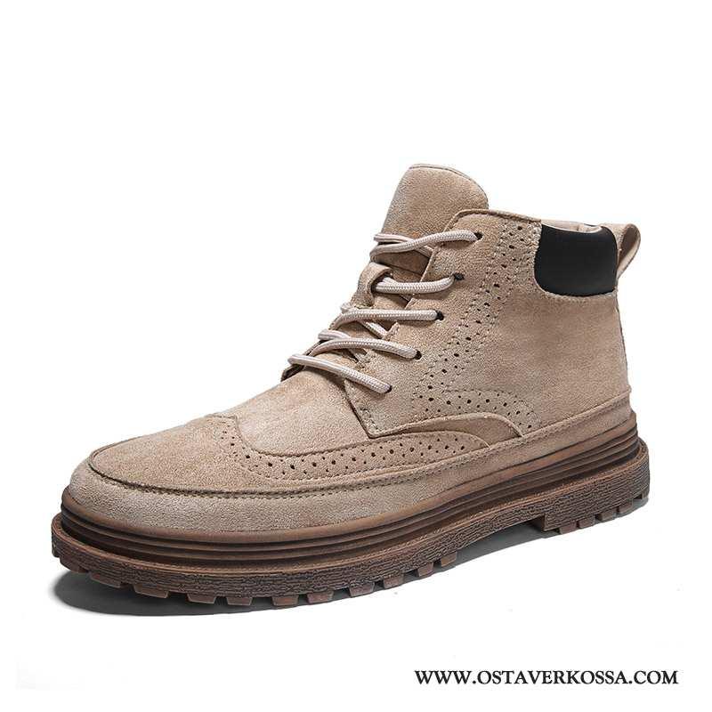 Saappaat Miesten Vintage Veistetty Englanti Miehet Musta Kengät Kudos Korkea Trendi Beige