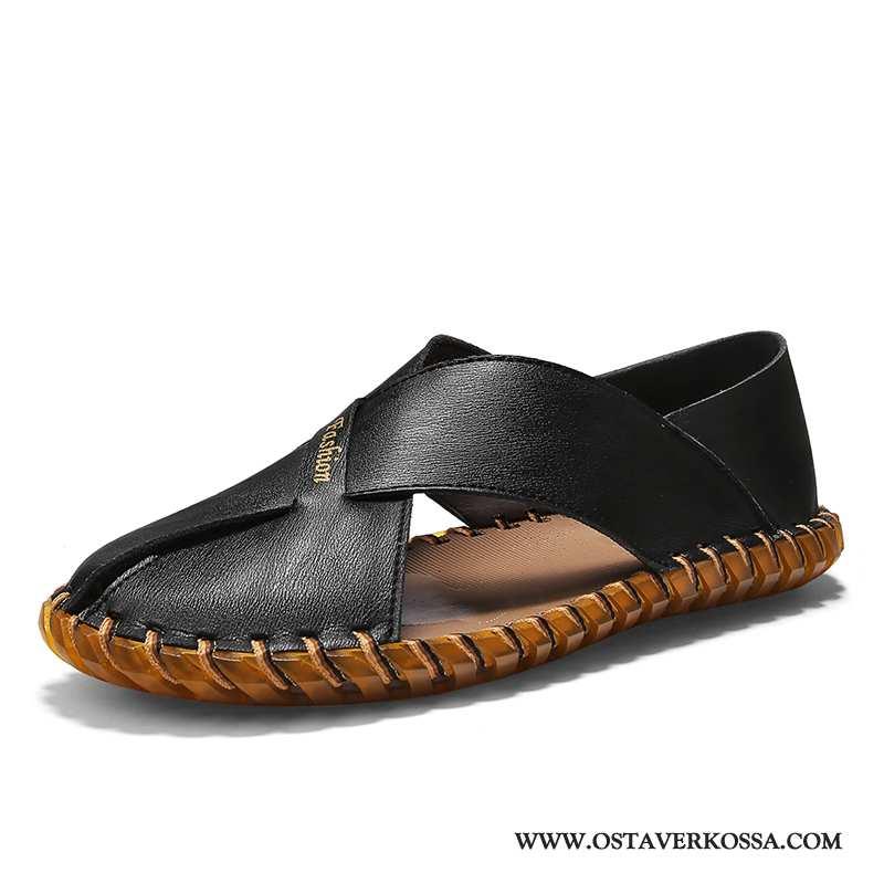 Sandaalit Miesten Kesä Nahka Kuljettajille Uusi Liukumaton Kengät Miehet Musta Oxford Mustat