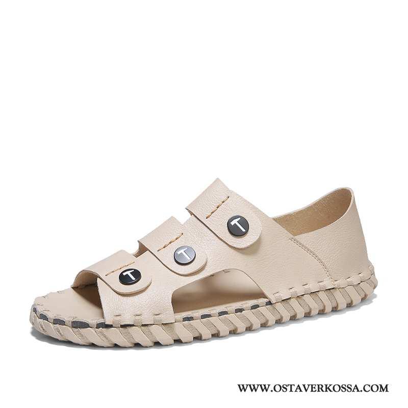 Sandaalit Miesten Kesä Nahka Monitoimilaitteet Khaki Kuljettajille Kengät Pehmeä Pohja Rooma Persoon