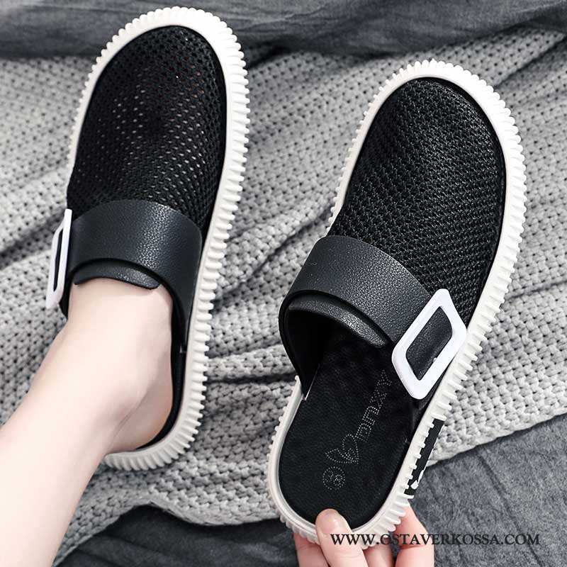 Sandaalit Miesten Kesä Musta Monitoimilaitteet Iso Miehet Tossut Hengittävä Verkko Trendi Mustat