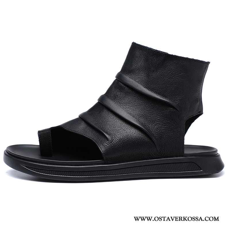 Sandaalit Miesten Kesä Nahka Trendi Uusi Korkea Kengät Miehet Päällysvaatteet Rooma Mustat
