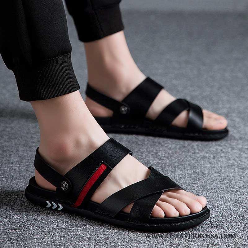 Sandaalit Miesten Kesä Nahka Miehet Kuljettajille Uusi Tossut Hengittävä Suuntaus Rooma Mustat