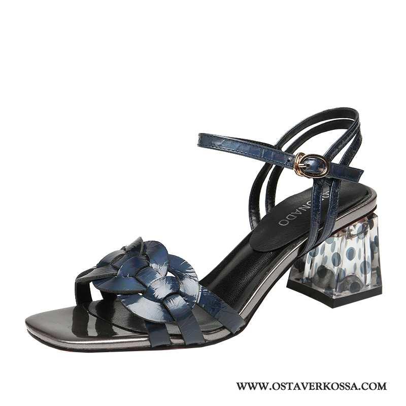 Sandaalit Naisten Kesä Naiset Uusi Punainen Keskimääräinen Numero Kengät Avoin Sininen Paksu