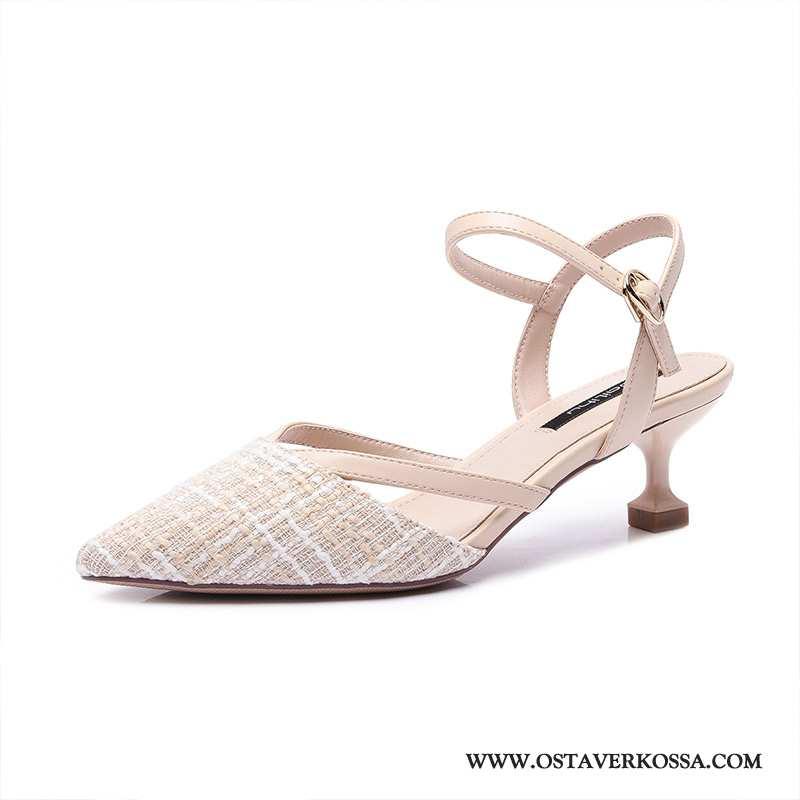 Sandaalit Naisten Kesä Ohut Uusi Kaikki Ottelut Tuoksuva Kengät Naiset Pieni Rintaliivit Beige