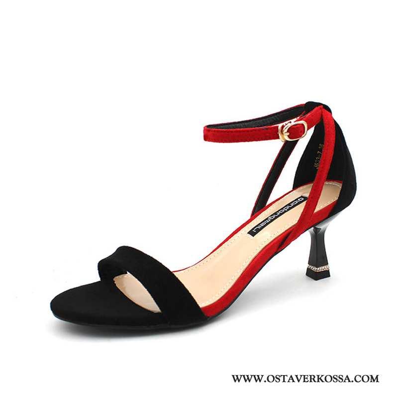 Sandaalit Naisten Kesä Naiset Punainen Trendi Verkko Korkokengät Ompeluvärejä Keskimääräinen Numero
