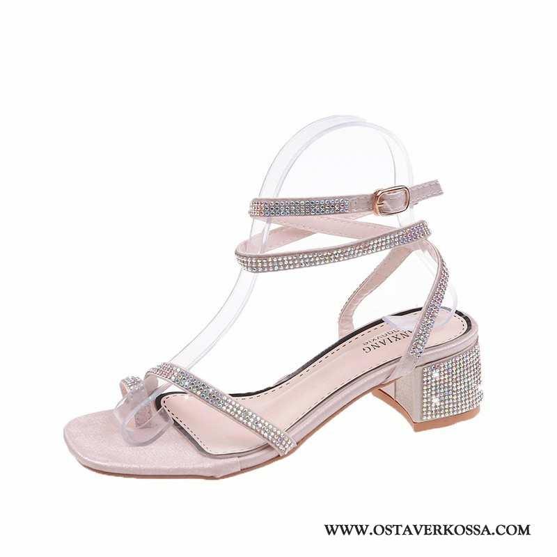 Sandaalit Naisten Kesä Punainen Tekojalokivi Trendi Verkko Kengät Paksu Banketti Muoti Pinkki