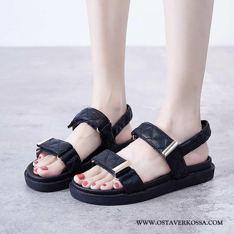 Sandaalit Naisten Platform Casual Kevyt Pehmeä Pohja Tarranauha Rooma Naiset Kesä Mustat