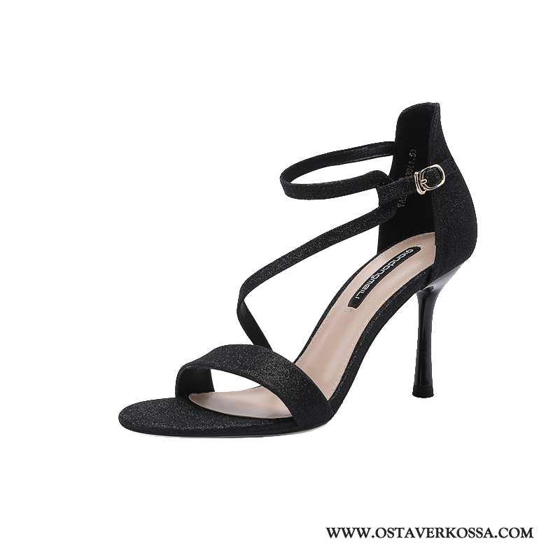 Sandaalit Naisten Kesä Tyylikäs Glitter Seksikäs Musta Korkokengät Uusi Ohut Muoti Mustat