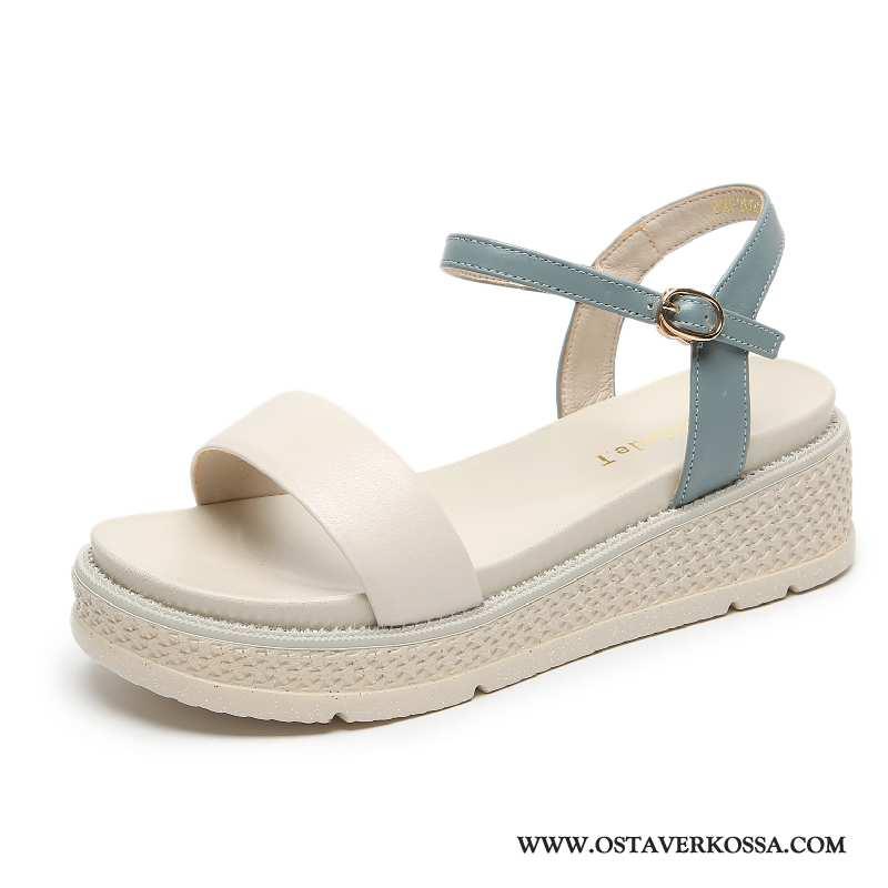 Sandaalit Naisten Kesä Nahka Kaikki Ottelut Platform Kiilapohja Kengät Paksu Korkeakorkoiset Sininen