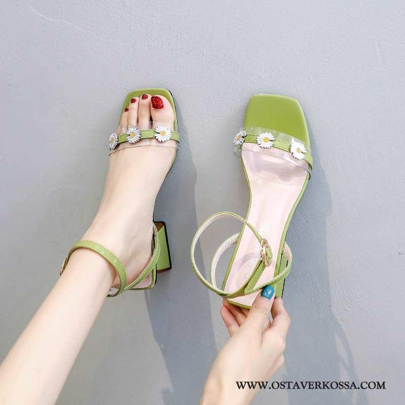 Sandaalit Naisten Kesä Vihreä Läpinäkyvä Keskimääräinen Numero Päivänkakkara Uusi Kaikki Ottelut Nai