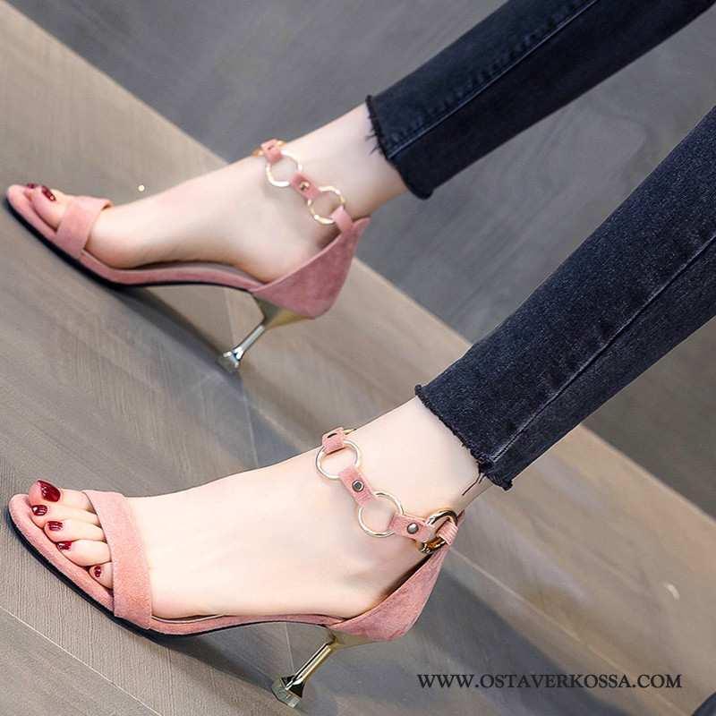Sandaalit Naisten Kesä Uusi Metalli Ohut Pinkki Korkokengät Säppi Naiset