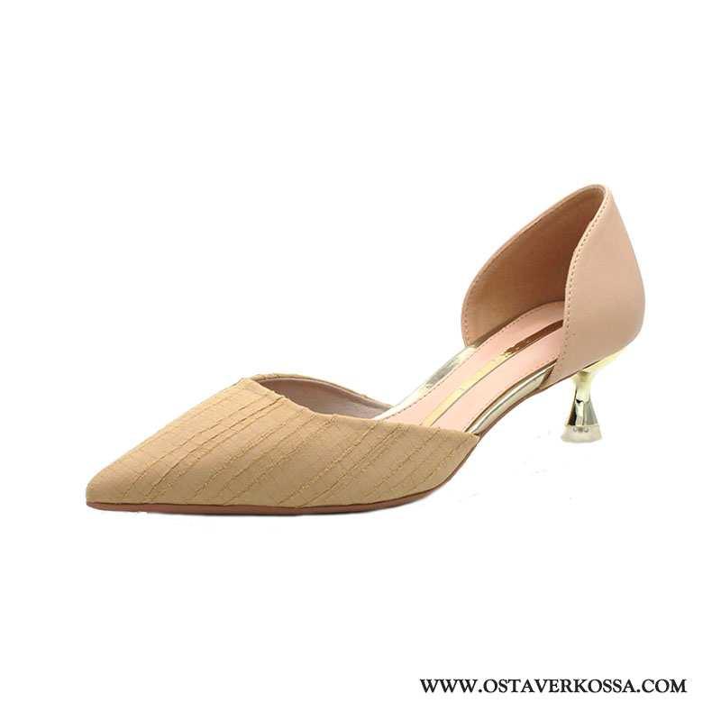 Sandaalit Naisten Kesä Naiset Tuoksuva Terävä Kohta Pieni Rintaliivit Derbies Khaki Uusi Keskimääräi