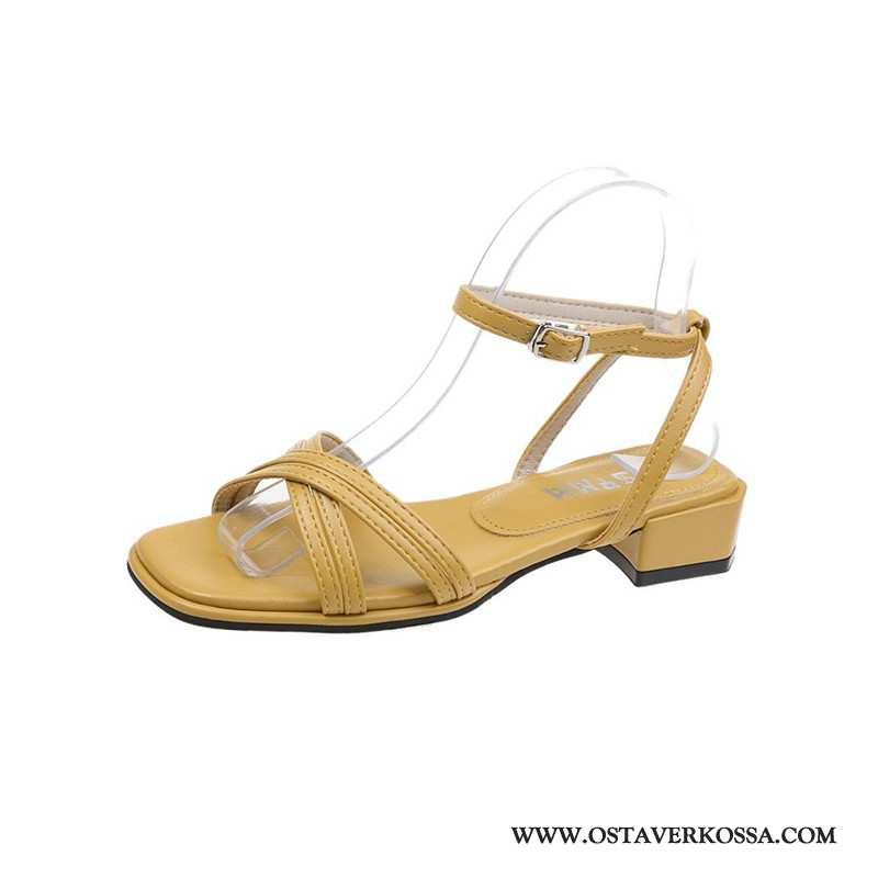 Sandaalit Naisten Kesä Keltainen Muoti Naiset Keskimääräinen Numero Kengät Kaikki Ottelut Paksu Uusi