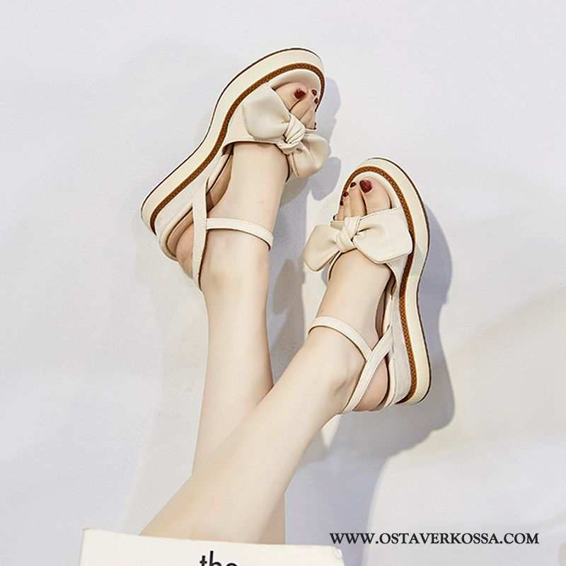 Sandaalit Naisten Kiilapohja Muoti Kesä Kaikki Ottelut Uusi Naiset Korokekenkien Rooma Beige