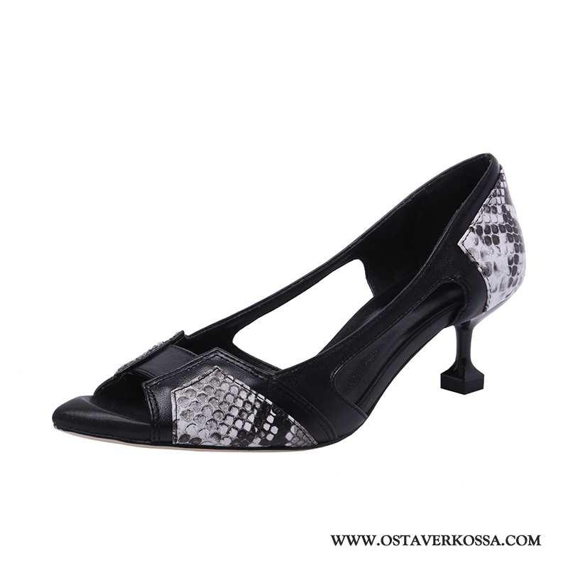 Sandaalit Naisten Kesä Nahka Uusi Kiemurteleva Naiset Kengät Avoin Musta Ohut Mustat