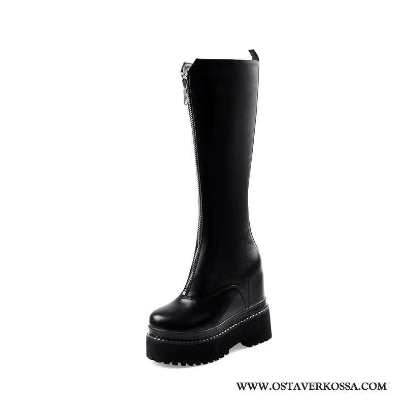 Talvisaappaat Naisten Vetoketjulliset Nahka Platform Trendi Musta Kengät Naiset Hissi Korokekenkien