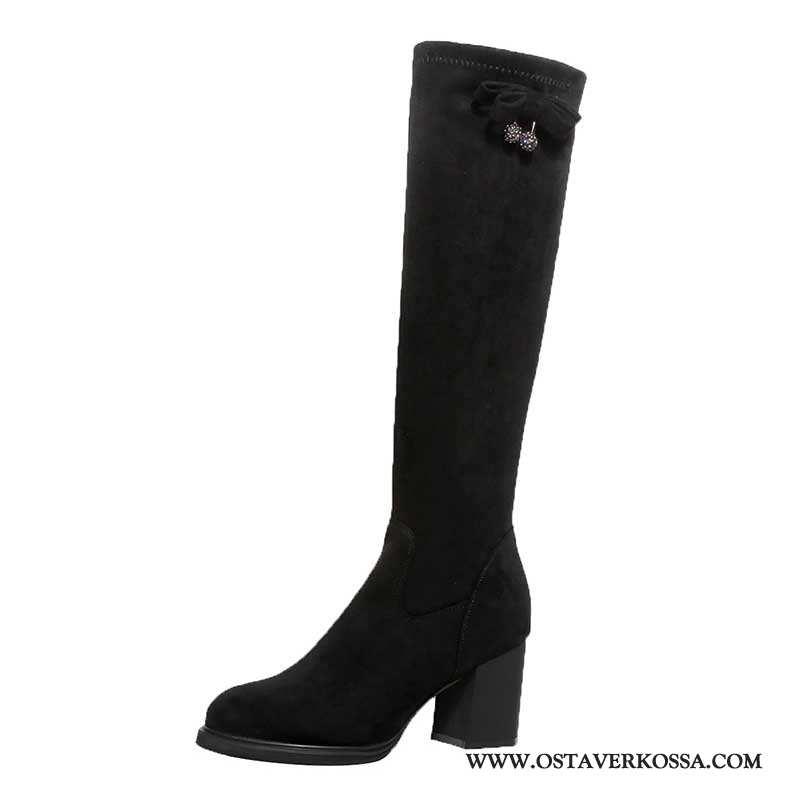 Talvisaappaat Naisten Stretch Plus Cashmere Mokkanahka Uusi Musta Kengät Talvi Naiset Pitkä Mustat